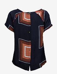 Coster Copenhagen - Square dot print top w. button back - t-shirts - square dot print darkblue - 1