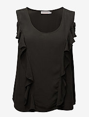 Coster Copenhagen - Top w. front ruffle - sleeveless blouses - stone green - 0
