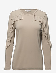 Coster Copenhagen - Long sleeve modal jersey w. ruffle - long-sleeved tops - sand - 0