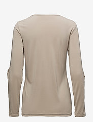 Coster Copenhagen - Long sleeve modal jersey w. ruffle - long-sleeved tops - sand - 1
