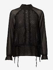 Coster Copenhagen - Top w. dot fabric and lace - long sleeved blouses - black - 0