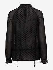 Coster Copenhagen - Top w. dot fabric and lace - long sleeved blouses - black - 1