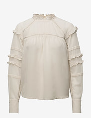 Coster Copenhagen - Top w. ruffle and lace - long sleeved blouses - sand - 0