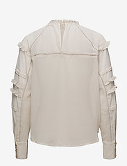 Coster Copenhagen - Top w. ruffle and lace - long sleeved blouses - sand - 1