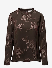 Coster Copenhagen - Top in burn-out fabric neck ruffle - long sleeved blouses - burn-out jacquard - 0