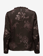 Coster Copenhagen - Top in burn-out fabric neck ruffle - long sleeved blouses - burn-out jacquard - 1