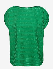 Coster Copenhagen - Top w. gathering in stripe jacquard - strikkede toppe - emerald green - 0