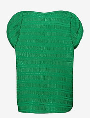 Coster Copenhagen - Top w. gathering in stripe jacquard - strikkede toppe - emerald green - 1
