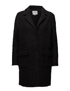 Curly long coat - BLACK