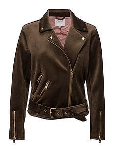 Velvet biker jacket - DARK OLIVE