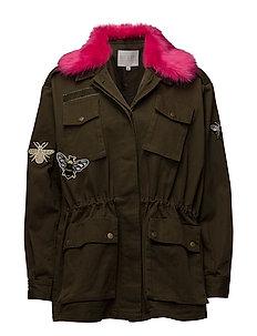 Canvas army jacket w. fur collar & - ARMY GREEN