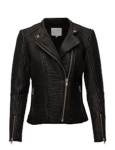 Leather jacket w. mesh - BLACK