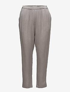 Cupro pants w. elastic back - uitlopende broeken - light warm grey