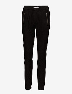 Suede and jersey pants - spodnie skórzane - black
