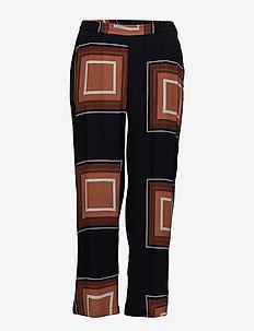 Pants w. square dot print - casual bukser - square dot print darkblue