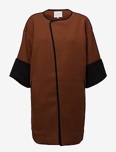 Quilted jacket w. jersey turn up - cienkie płaszcze - cognac