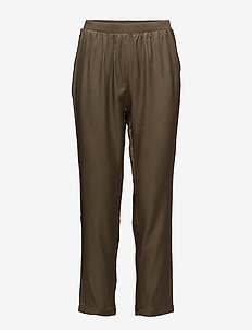 Sateen pants - casual housut - dark olive