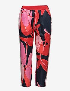 Trousers w. Branch print & stripe - casual bukser - branch print and dark blue