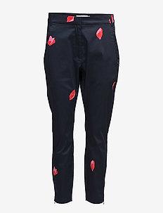 Trousers w. Blot print - DARK BLUE SPOT PRINT