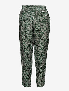 Cupro pants w. japanese waves - casual broeken - japanese waves green