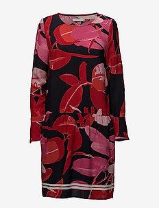 Moss crepe dress w. Branch print & - midiklänningar - branch print and dark blue