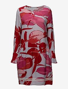 Moss crepe dress w. Branch print & - midiklänningar - branch print and blue