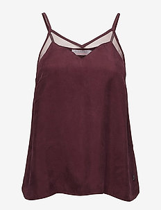 Strap top in cupro w. mesh - BORDEAUX