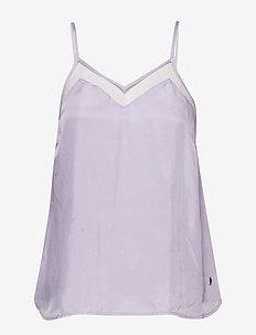 Strap top in cupro w. mesh - linnen - pastel lilac