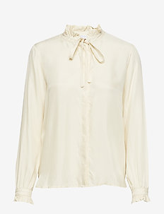 Shirt w. ruffle and bow - blouses med lange mouwen - creme