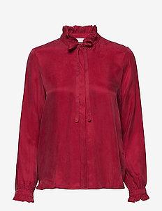Shirt w. ruffle and bow - bluzki z długimi rękawami - wine red
