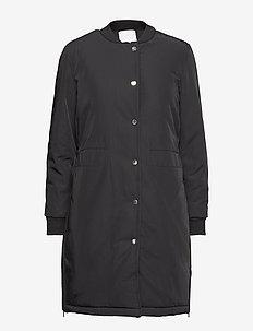 Jacket in nylon w. padding and rib - BLACK