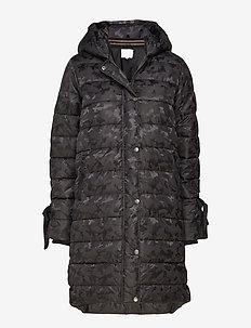 Long coat in faux down look w. camo - BLACK