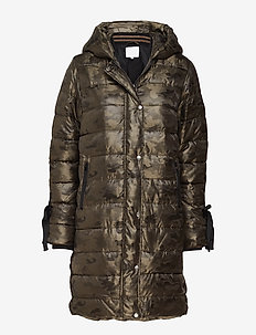 Long coat in faux down look w. camo - manteaux d'hiver - camouflage