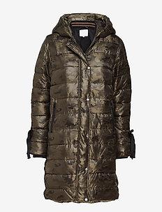 Long coat in faux down look w. camo - dynefrakke - camouflage