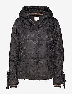 Jacket in faux down w. camouflage - BLACK