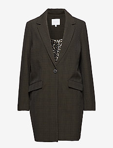 Long jacket w. checks - vestes legères - hunter green