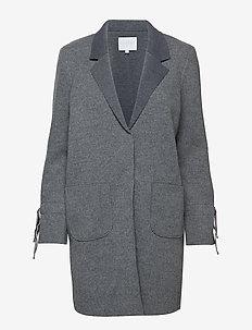 Knit coat bonded w. jersey and tied cuffs - ullkåper - grey melange