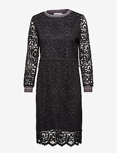 Dress in lace w. rib detail - koronkowe sukienki - black