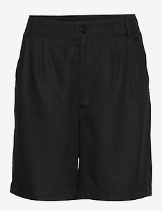 Shorts w. pleats in tencel - BLACK