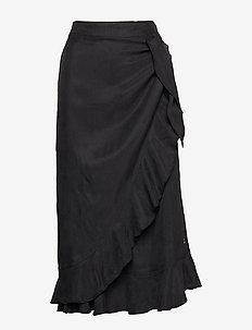 Skirt w. ruffles and tieband detail - BLACK