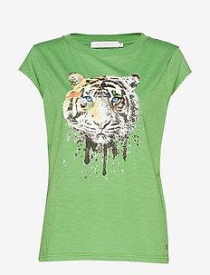 T-shirt w. Tiger print - FORREST GREEN