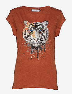 T-shirt w. Tiger print - ORANGE MIST