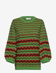 Knit in multi color w. volume sleev - FORREST GREEN