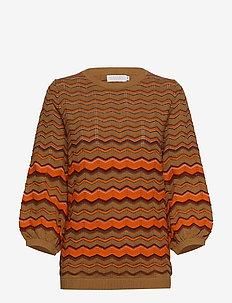 Knit in multi color w. volume sleev - NOMADE