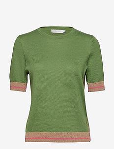 Knit w. short sleeves in seawool - FORREST GREEN