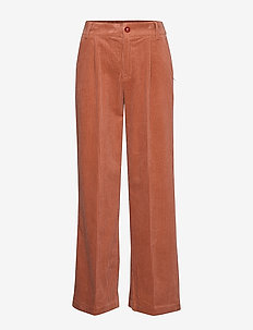 Pants in corduroy w. elastic waistb - ORANGE MIST