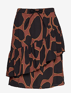 Skirt in lava print w. tie band at - LAVA PRINT