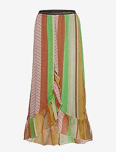 Skirt w. frills in stroke print w. - STROKE PRINT