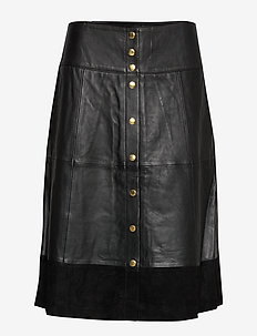 Leather skirt w. button closure - BLACK