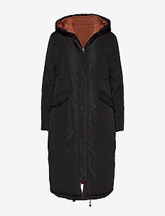 Revesible jacket w. big pockets at - BLACK (ORANGE MIST)